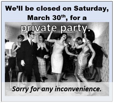 Closed Sat March 30