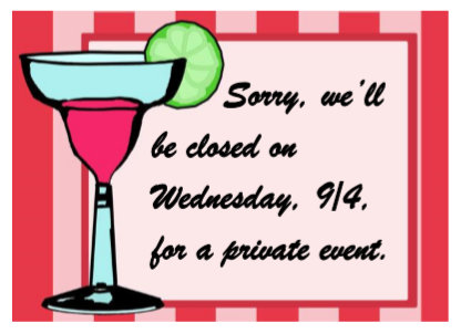 Closed Wed 9-4-19